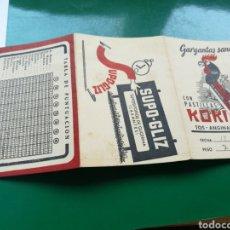 Coleccionismo deportivo: CALENDARIO DE LA LIGA DE FÚTBOL ESPAÑOLA. 1958. PASTILLAS PARA LA GARGANTA KOKI. Lote 129071268