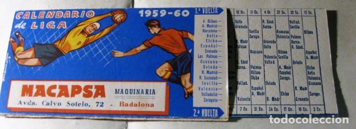 Liga Calendario.Calendario De Liga Defutbol 1959 60 Maquinaria Macapsa