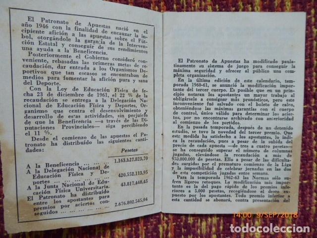 Coleccionismo deportivo: guia del quinielista de 1962, buen estado mancha esquina, - Foto 3 - 132923506