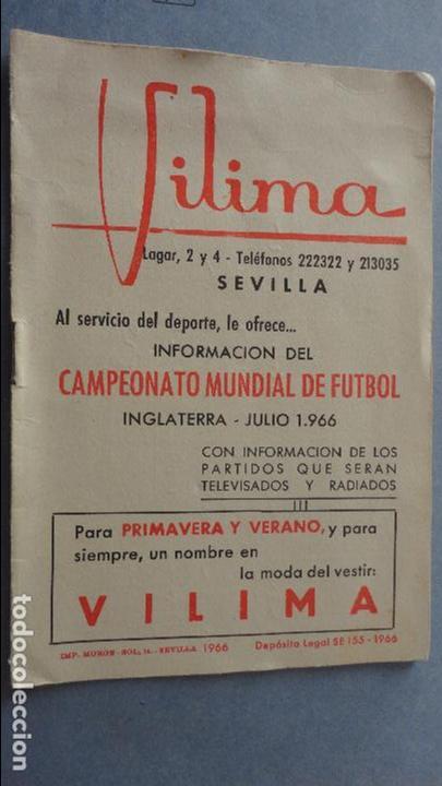 Calendario Mundial Futbol.Antiguo Calendario Campeonato Mundial Futbol Inglaterra 1966 Vilima