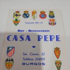 Coleccionismo deportivo: FÚTBOL TEMPORADA CALENDARIO 1969-70. Lote 137567660