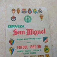 Coleccionismo deportivo: CALENDARIO FÚTBOL LIGA 1987 - 1988 CERVEZA SAN MIGUEL - ALBORAYA VALENCIA - RARO -. Lote 141789572