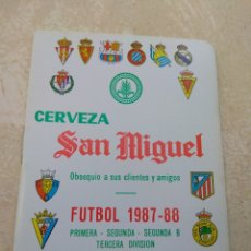 Coleccionismo deportivo: CALENDARIO FÚTBOL LIGA 1987 - 1988 CERVEZA SAN MIGUEL - ALBORAYA VALENCIA - RARO -. Lote 141789810