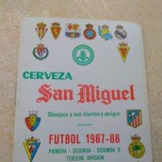 Coleccionismo deportivo: CALENDARIO FÚTBOL LIGA 1987 - 1988 CERVEZA SAN MIGUEL - ALBORAYA VALENCIA - RARO -. Lote 141789949