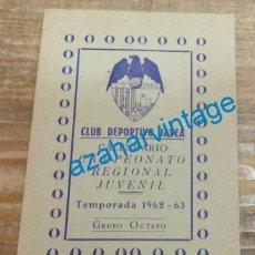 Coleccionismo deportivo: JAVEA, 1962, CALENDARIO CAMPEONATO REGIONAL JUVENIL, CLUB DEPORTIVO JAVEA, MUY RARO. Lote 142440846