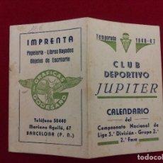 Coleccionismo deportivo: CD-39.- CLUB DEPORTIVO JUPITER.- CALENDARIO DEL CAMPEONATO NACIONAL DE LIGA -3ª DIVISION, 1946-47. Lote 145261434