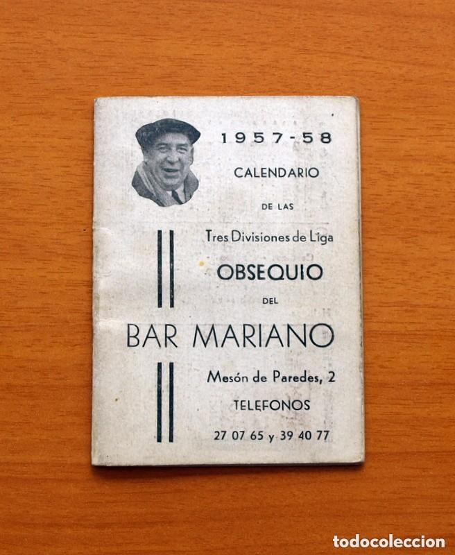 CALENDARIO DE LIGA 1957-1958, 57-58 - BAR CASA MARIANO - MADRID (Coleccionismo Deportivo - Documentos de Deportes - Calendarios)