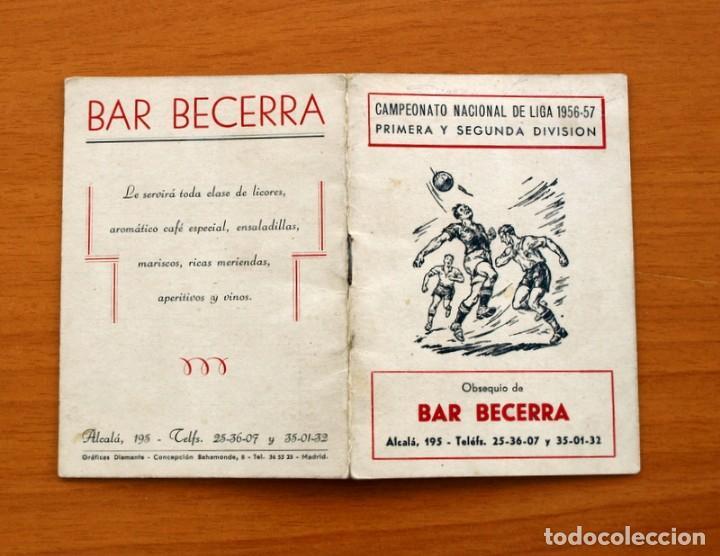 CALENDARIO DE LIGA 1956-1957, 56-57 - FÚTBOL - BAR BECERRA - MADRID (Coleccionismo Deportivo - Documentos de Deportes - Calendarios)