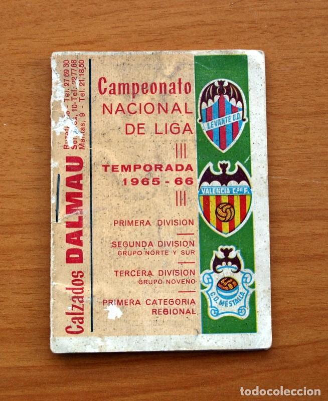 Coleccionismo deportivo: Calendario de Liga 1965-1966, 65-66 - Fútbol - Calzados Dalmau - Valencia - Foto 2 - 148737774