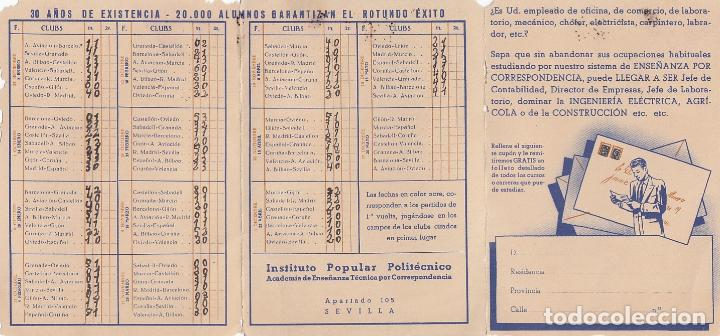 Calendario Politecnico.Instituto Popular Politecnico Sevilla Calendario De Futbol 1ª Division Temporada 1944 1945