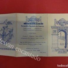 Coleccionismo deportivo: SEGUROS FINISTERRE. CALENDARIO LIGA 1952-1953. SIN USO. Lote 154989510