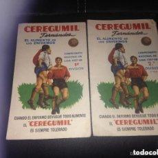 Coleccionismo deportivo: LOTE CALENDARIOS ANTIGUOS LIGA FÚTBOL PRIMERA SEGUNDA DIVISIÓN CEREGUMIL 1957-1958. Lote 155816498