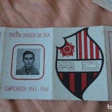 Coleccionismo deportivo: ANTIGUO CALENDARIO DE LIGA FUTBOL REUS DEPORTIVO 1943-1944 MOSAICOS ROMERO. Lote 155996226