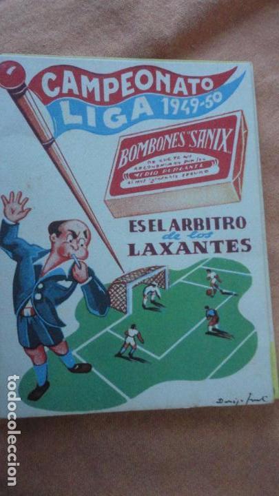 ANTIGUO CALENDARIO CAMPEONATO LIGA FUTBOL 1949-1950.BOMBONES SANIX (Coleccionismo Deportivo - Documentos de Deportes - Calendarios)