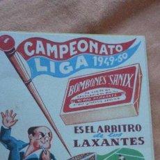 Coleccionismo deportivo: ANTIGUO CALENDARIO CAMPEONATO LIGA FUTBOL 1949-1950.BOMBONES SANIX. Lote 155996494