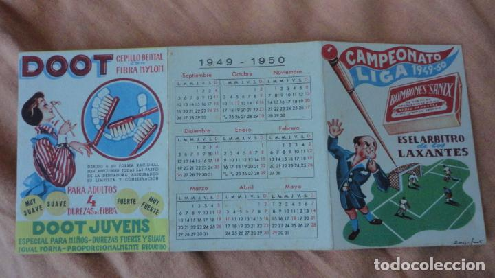 Coleccionismo deportivo: ANTIGUO CALENDARIO CAMPEONATO LIGA FUTBOL 1949-1950.BOMBONES SANIX - Foto 2 - 155996494
