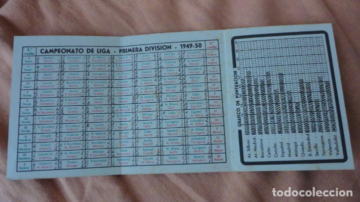 Coleccionismo deportivo: ANTIGUO CALENDARIO CAMPEONATO LIGA FUTBOL 1949-1950.BOMBONES SANIX - Foto 3 - 155996494