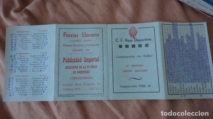 Coleccionismo deportivo: ANTIGUO CALENDARIO DE LIGA FUTBOL REUS DEPORTIVO 1960-1961 FINCAS LLORENS - Foto 3 - 155996790