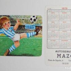 Coleccionismo deportivo: CALENDARIO DE BOLSILLO ANTIGUO AÑO 1979 FÚTBOL VINTAGE REAL SOCIEDAD PUBLICIDAD AUTOSERVICIO IRUN. Lote 156855018
