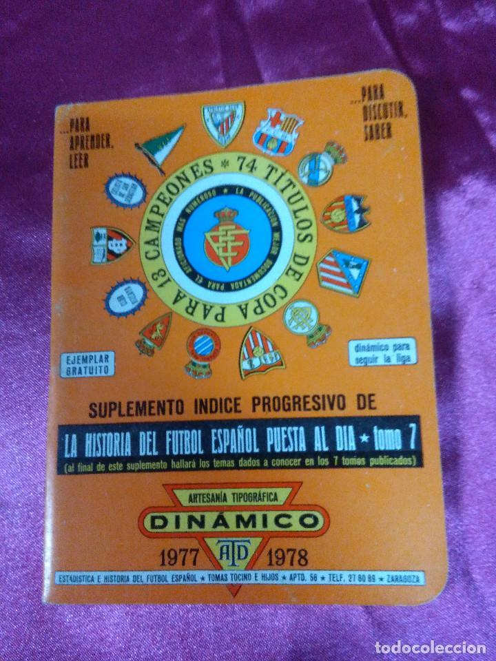 SUPLEMENTO INDICE PROGRESIVO, ARTESANÍA TOPOGRÁFICA DINÁMICO 1977/1978 (Coleccionismo Deportivo - Documentos de Deportes - Calendarios)