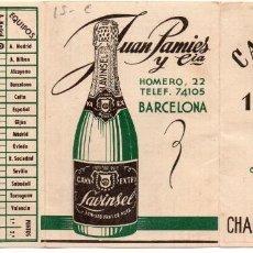 Coleccionismo deportivo: CALENDARIO 1947, DE CHAMPAÑA LAVINSEL, BARCELONA. Lote 161632038