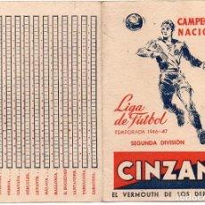 Coleccionismo deportivo: CALENDARIO 1946, PUBLICIDAD DE CINZANO. Lote 161641650