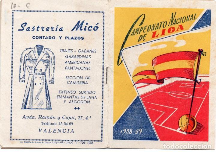 CALENDARIO DEL CAMPEONATO NACIONAL DE LIGA 1958, (Coleccionismo Deportivo - Documentos de Deportes - Calendarios)