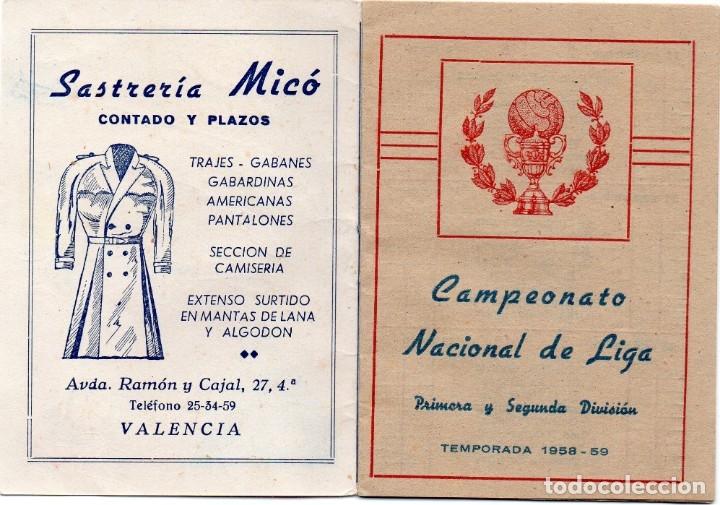 Coleccionismo deportivo: calendario del campeonato nacional de liga 1958, - Foto 2 - 162151962