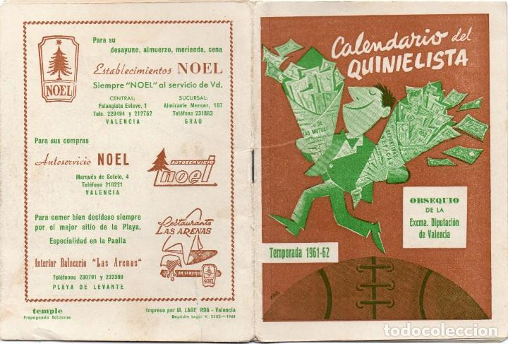 CALENDARIO DEL QUINIELISTA 1961, (Coleccionismo Deportivo - Documentos de Deportes - Calendarios)