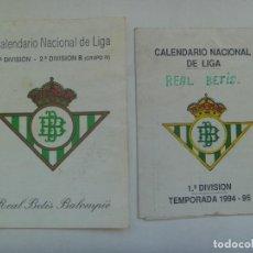 Coleccionismo deportivo: LOTE DE 2 CALENDARIOS DE LIGA 1994 / 95 . REAL BETIS BALOMPIE. Lote 164881130