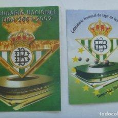 Coleccionismo deportivo: LOTE DE 2 CALENDARIOS DE LIGA 2001 / 02. REAL BETIS BALOMPIE. Lote 164945134