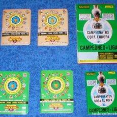 Coleccionismo deportivo: SUPER DINAMICO CAMPEONATOS COPA DE EUROPA LOTE 5 CALENDARIOS FUTBOL CAJA ORIGINAL COMPLETA MIRA !!!. Lote 171781267