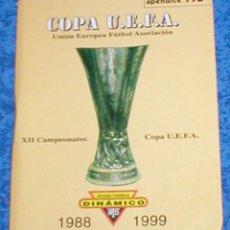 Coleccionismo deportivo: DINAMICO HISTORIA 12 AÑOS DE CAMPEONATOS DE COPA DE LA UEFA FUTBOL EUROPEO 1988 - 1999 APENDICE 19 D. Lote 171830244