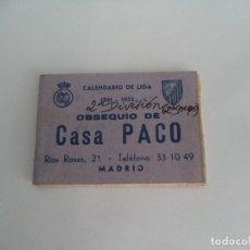 Coleccionismo deportivo: CALENDARIO DEPORTIVO.TEMPORADA 1951-52.PUBLICIDAD . Lote 173164360