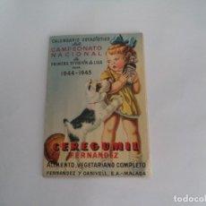 Coleccionismo deportivo: CALENDARIO DEPORTIVO.TEMPORADA 1944-45.PUBLICIDAD CEREGUMIL. Lote 173165228