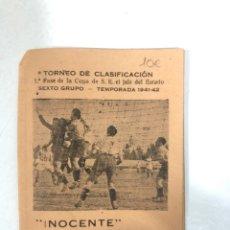 Coleccionismo deportivo: TORNEO DE CLASIFICACION. 1ª FASE DE LA COPA DE S.E. EL JEFE DEL ESTADO. TEMPORADA 1941-1942. CADIZ. . Lote 173634744