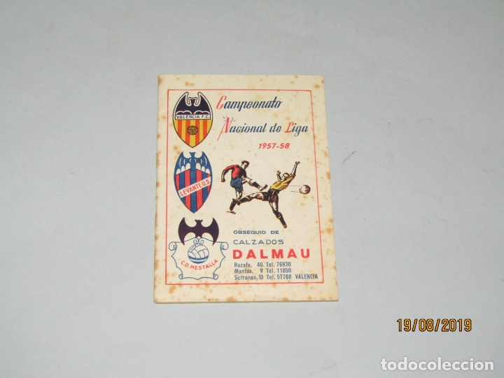 ANTIGUO CALENDARIO CAMPEONATO NACIONAL DE LIGA DEL AÑO 1957-58 CON TODOS LOS EQUIPOS VALENCIANOS (Coleccionismo Deportivo - Documentos de Deportes - Calendarios)