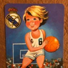 Coleccionismo deportivo: REAL MADRID CLUB DE FÚTBOL DE BALONCESTO. CALENDARIO DE 1985. DIBUJO NIÑO. BAR ALEGRÍA (MARBELLA).. Lote 177528730