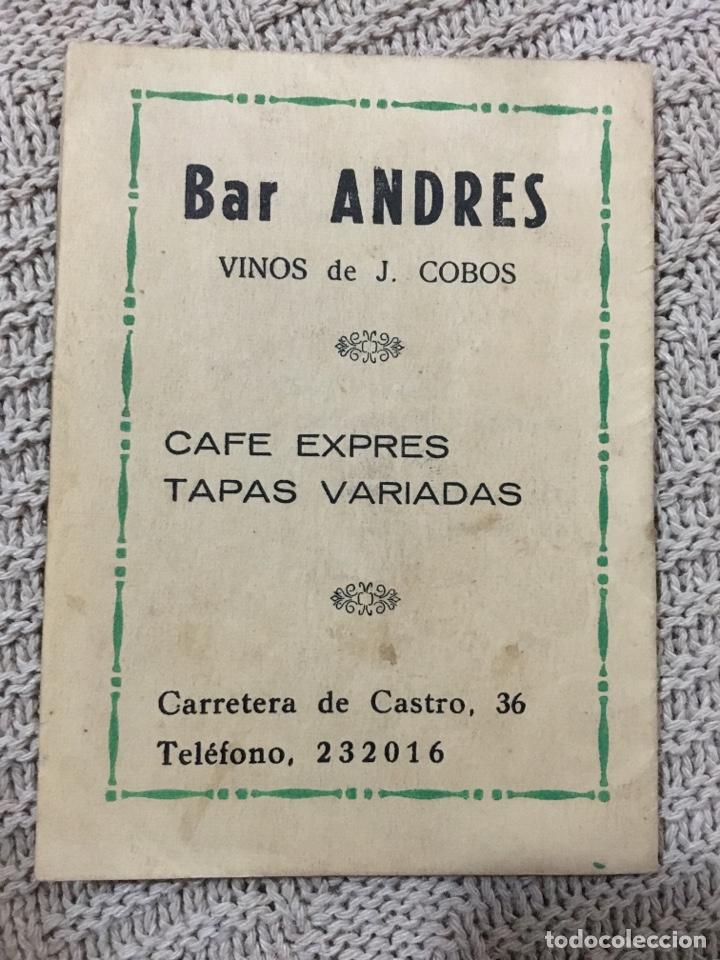 CALENDARIO NACIONAL DE LIGA TEMPORADA 1964/65, PUBLICIDAD BAR ANDRES DE CÓRDOBA (Coleccionismo Deportivo - Documentos de Deportes - Calendarios)