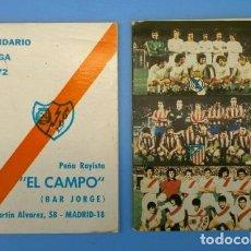 Coleccionismo deportivo: 2 CALENDARIOS DE FUTBOL - LIGA 1971 72 Y 1978 79 - PEÑA RAYISTA EL CAMPO (BAR JORGE) AMBULANCIAS. Lote 183333583