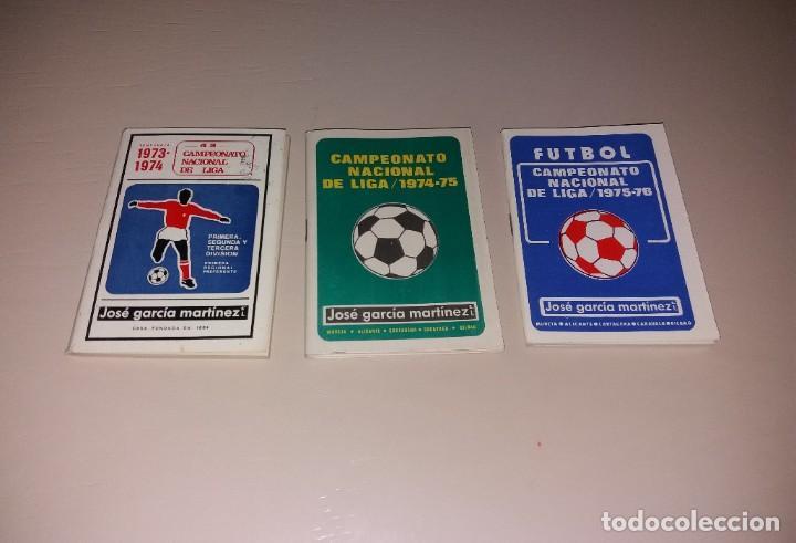 CALENDARIOS FÚTBOL. LIGA 1973-74, 1974-75, 1975-76. NUEVOS, PUBLI JOSÉ MARTÍNEZ GARCÍA (Coleccionismo Deportivo - Documentos de Deportes - Calendarios)