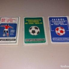 Coleccionismo deportivo: CALENDARIOS FÚTBOL. LIGA 1973-74, 1974-75, 1975-76. NUEVOS, PUBLI JOSÉ MARTÍNEZ GARCÍA. Lote 191396283