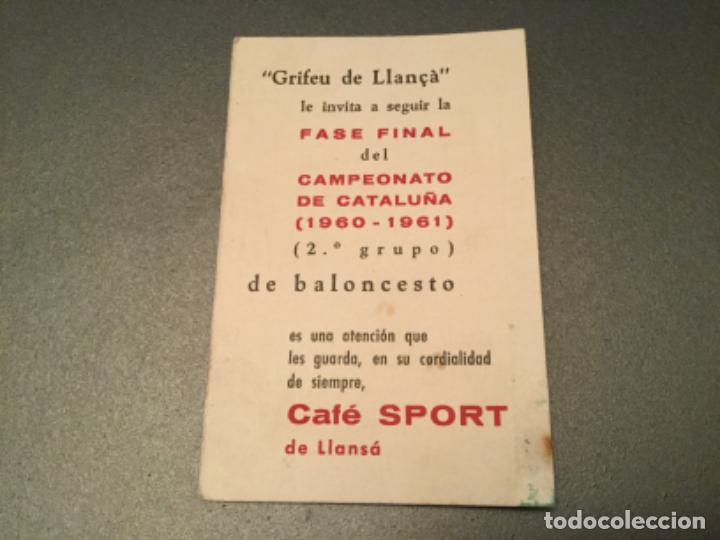 CAMPEONATO CATALUÑA, BALONCESTO.2º GRUPO.FASE FINAL. CAFE SPORT LLANSA, LLANÇA . GRIFEU, TEYA,ETC (Coleccionismo Deportivo - Documentos de Deportes - Calendarios)