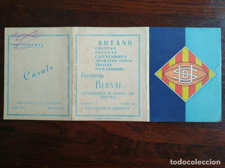 Coleccionismo deportivo: calendario de encuentros de Rugby de la Union deportiva Samboyana 1960-61 en Sant Boi de Llobregat - Foto 2 - 193986858