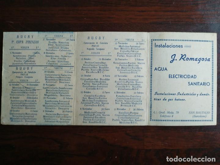 Coleccionismo deportivo: calendario de encuentros de Rugby de la Union deportiva Samboyana 1960-61 en Sant Boi de Llobregat - Foto 3 - 193986858
