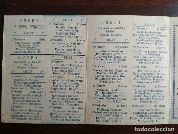 Coleccionismo deportivo: calendario de encuentros de Rugby de la Union deportiva Samboyana 1960-61 en Sant Boi de Llobregat - Foto 4 - 193986858