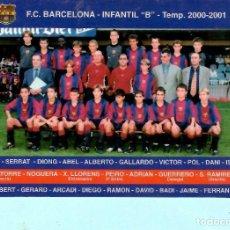 Coleccionismo deportivo: CALENDARIO DE F,C, BARCELONA INFANTIL B TEMPORADA 2000 - 2001 . Lote 194191790