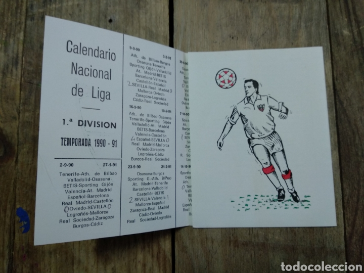 Coleccionismo deportivo: Calendario Nacional de Liga 1990/91 - Foto 2 - 194514562