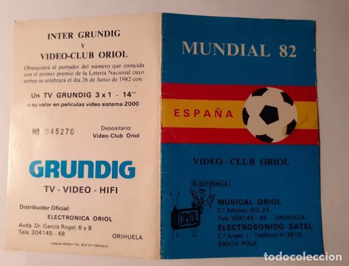 DIPTICO MUNDIAL FUTBOL ESPAÑA 82. ORIHUELA, SANTA POLA. GRUNDIG (Coleccionismo Deportivo - Documentos de Deportes - Calendarios)