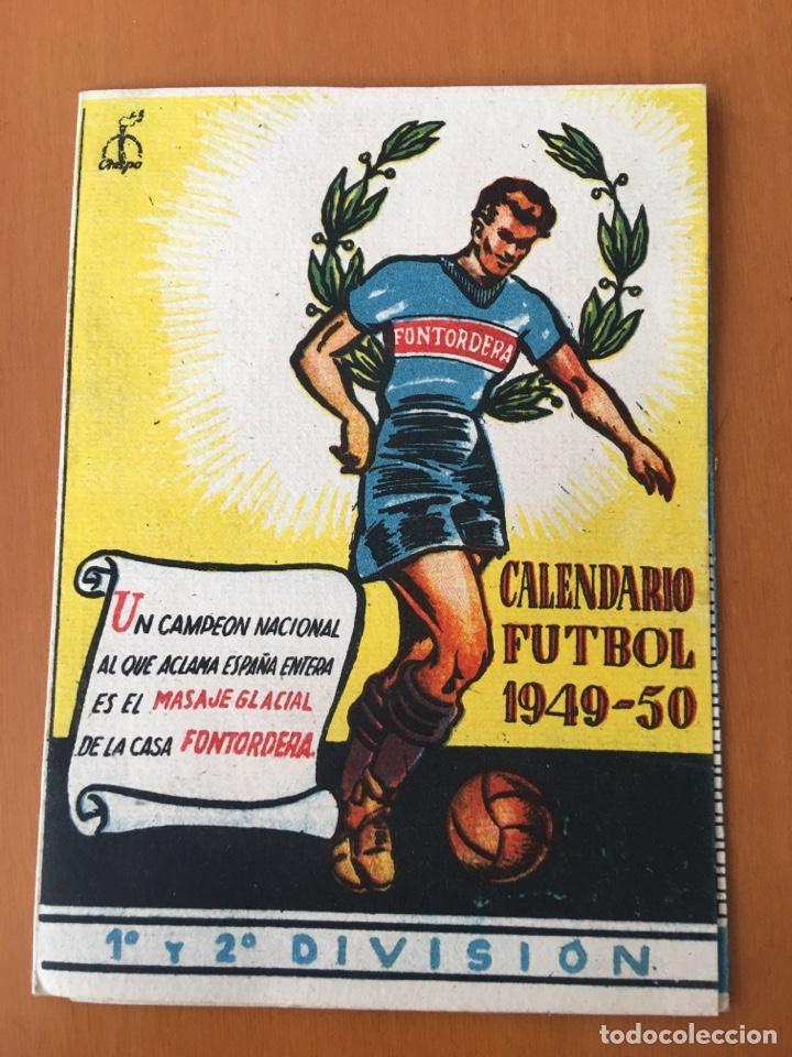CALENDARIO DESPLEGABLE BOLSILLO FUTBOL 1949-50 (PUBLICIDAD MASAJE GLACIAL FONTORDERA MANRESA) (Coleccionismo Deportivo - Documentos de Deportes - Calendarios)